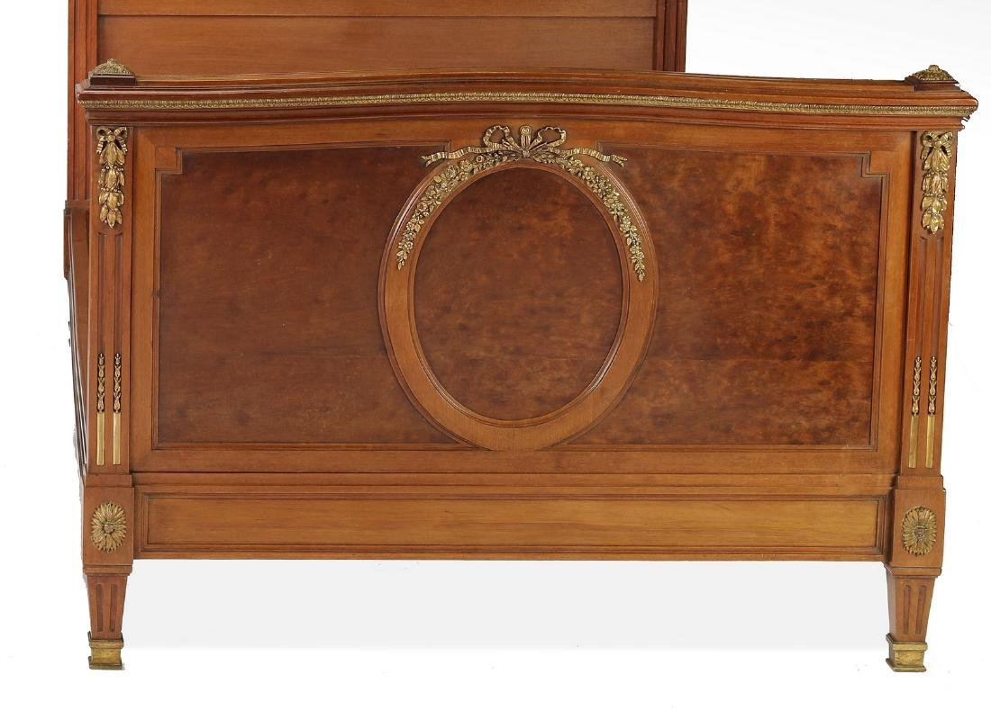 (2) 19th c French bronze mounted walnut beds - 3
