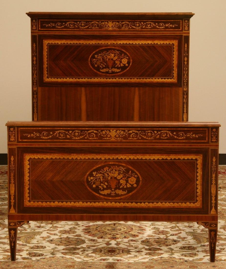 Italian marquetry inlaid mahogany single bed - 2