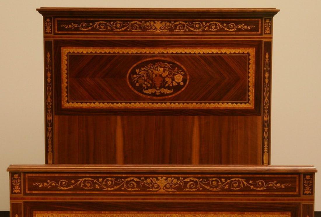 Italian marquetry inlaid mahogany single bed - 3