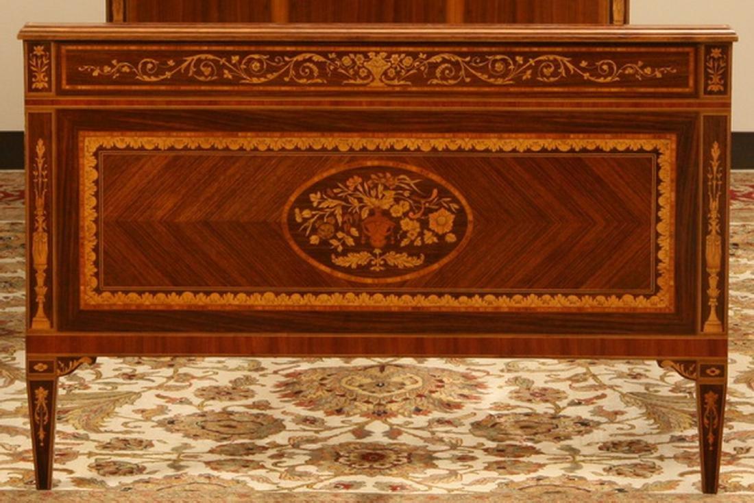 Italian marquetry inlaid mahogany single bed - 4