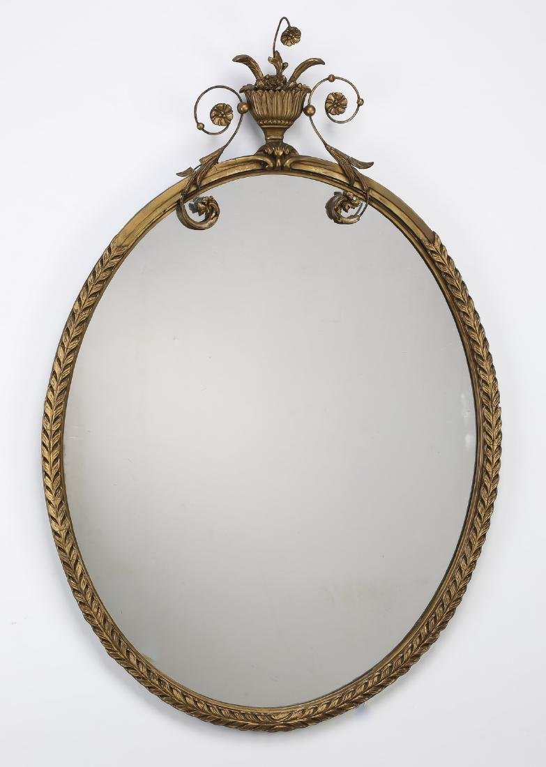 "Early 20th c. Federal Style gilt wood mirror, 40""h"