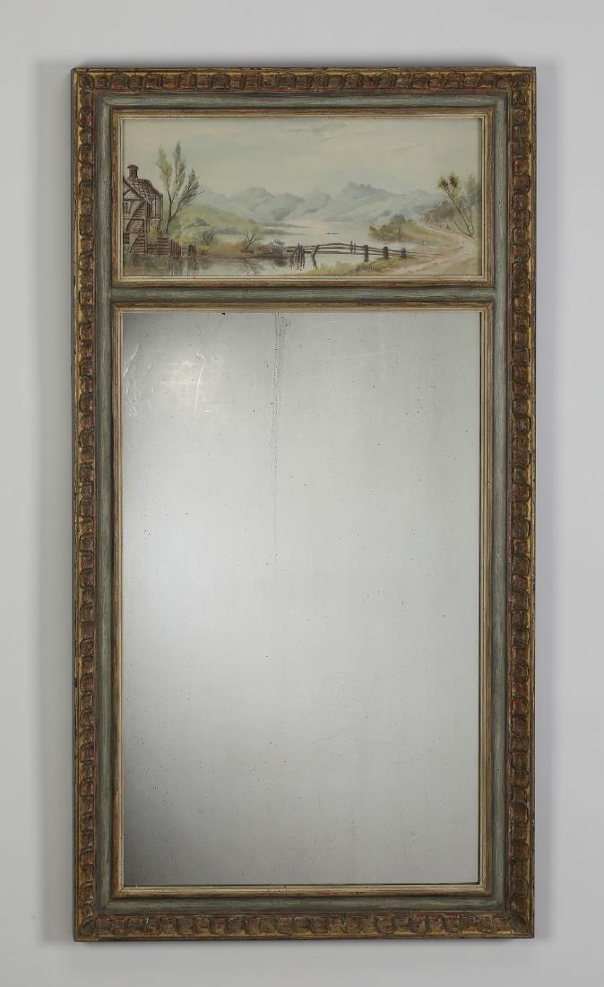 """Watercolor landscape trumeau mirror, 45""""h"""
