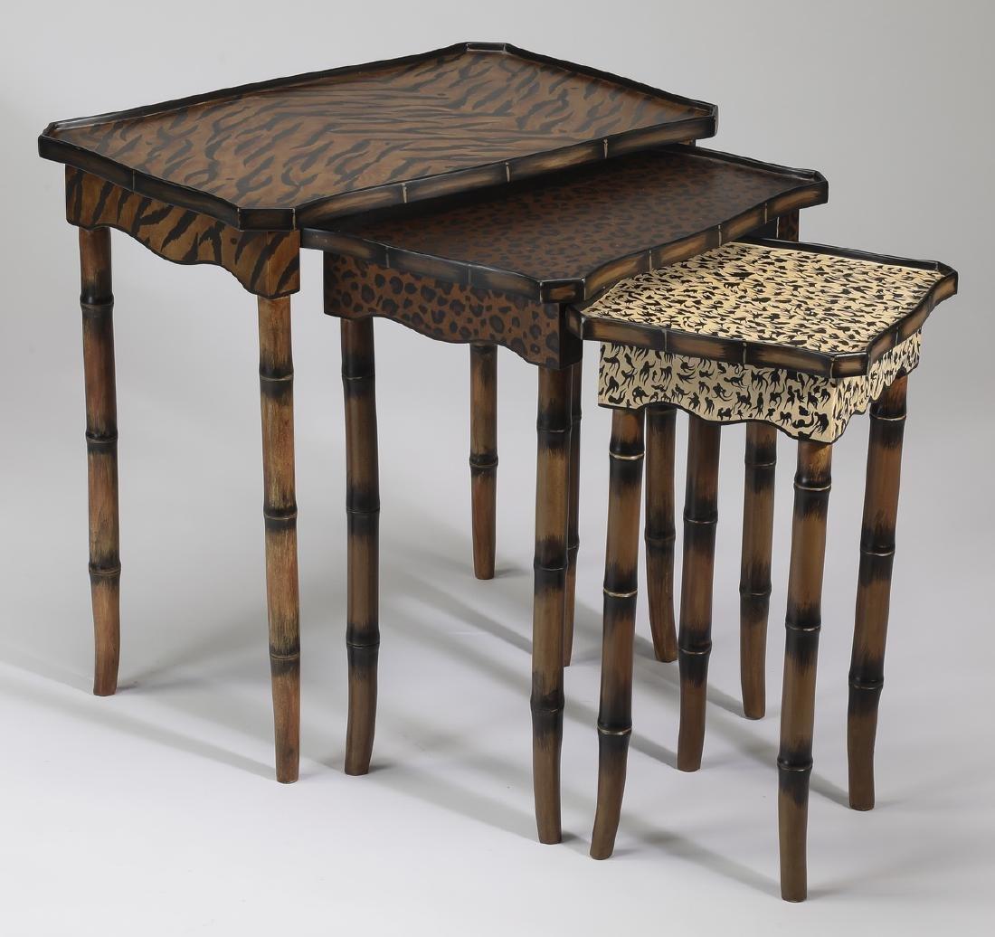 R. Waites animal print paint decorated nesting tables