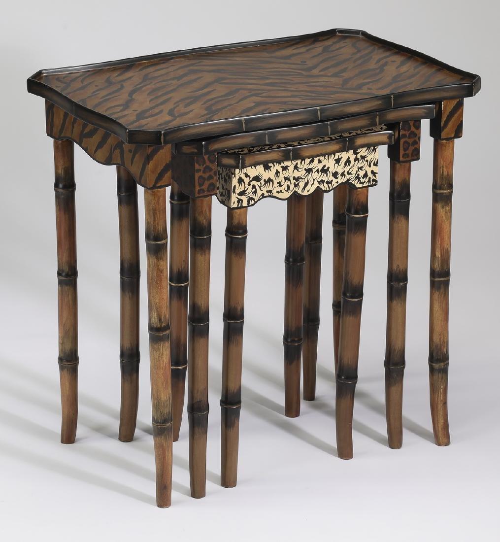 R. Waites animal print paint decorated nesting tables - 2