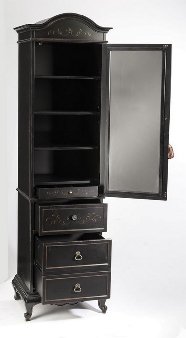 Slim, ebonized French style cabinet - 2