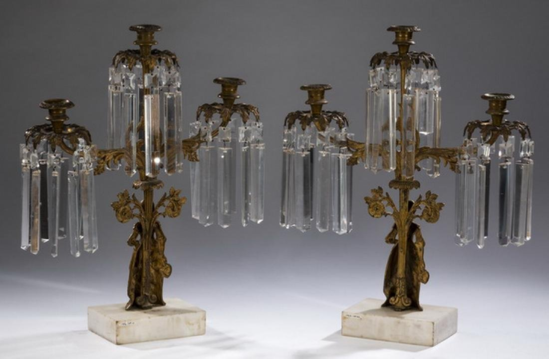 "(2) Victorian gilt bronze & crystal girandoles, 18""h - 2"