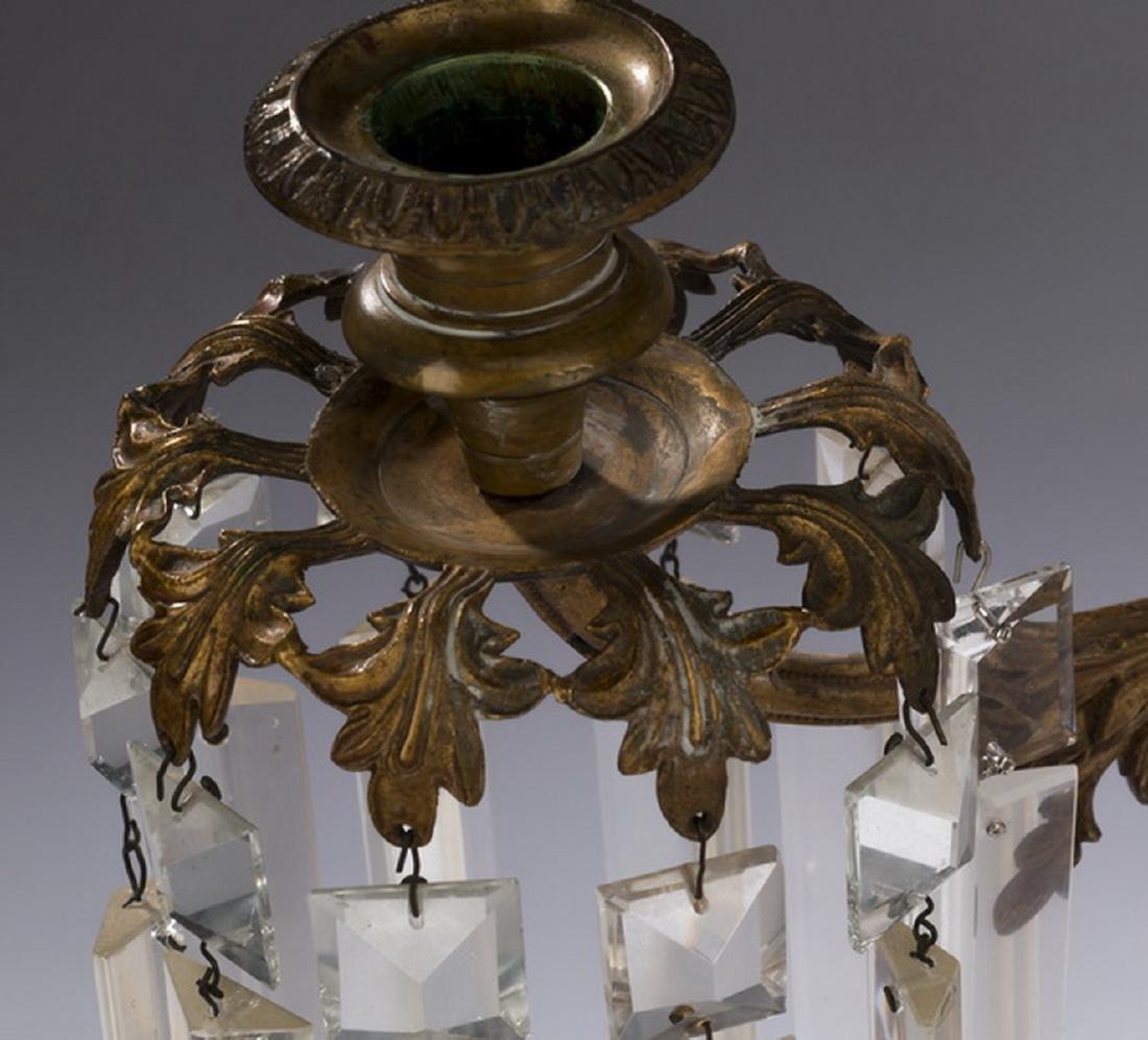 "(2) Victorian gilt bronze & crystal girandoles, 18""h - 5"