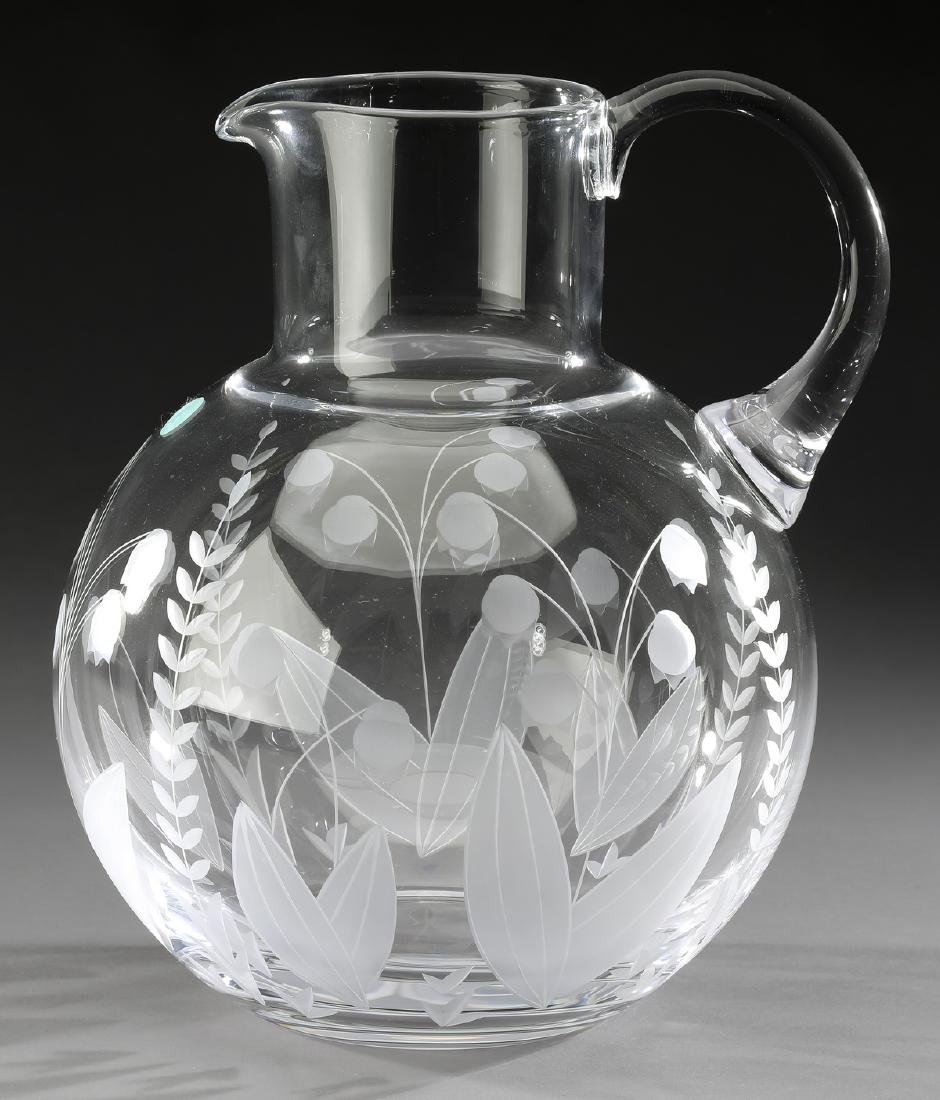 Tiffany & Co crystal 'Lily of the Valley' pitcher