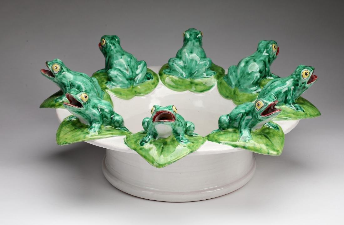 "Neiman Marcus majolica frog bowl, 19""d"