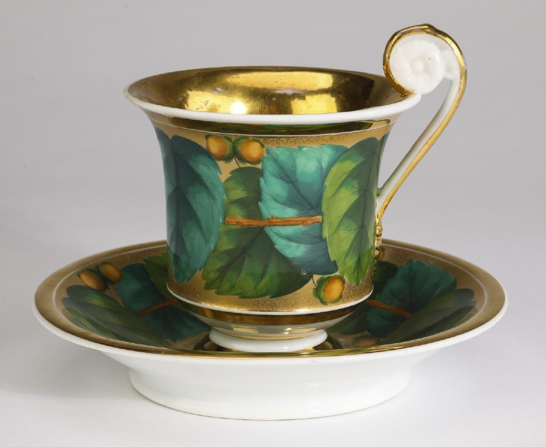 19th c German porcelain gilded teacup & saucer