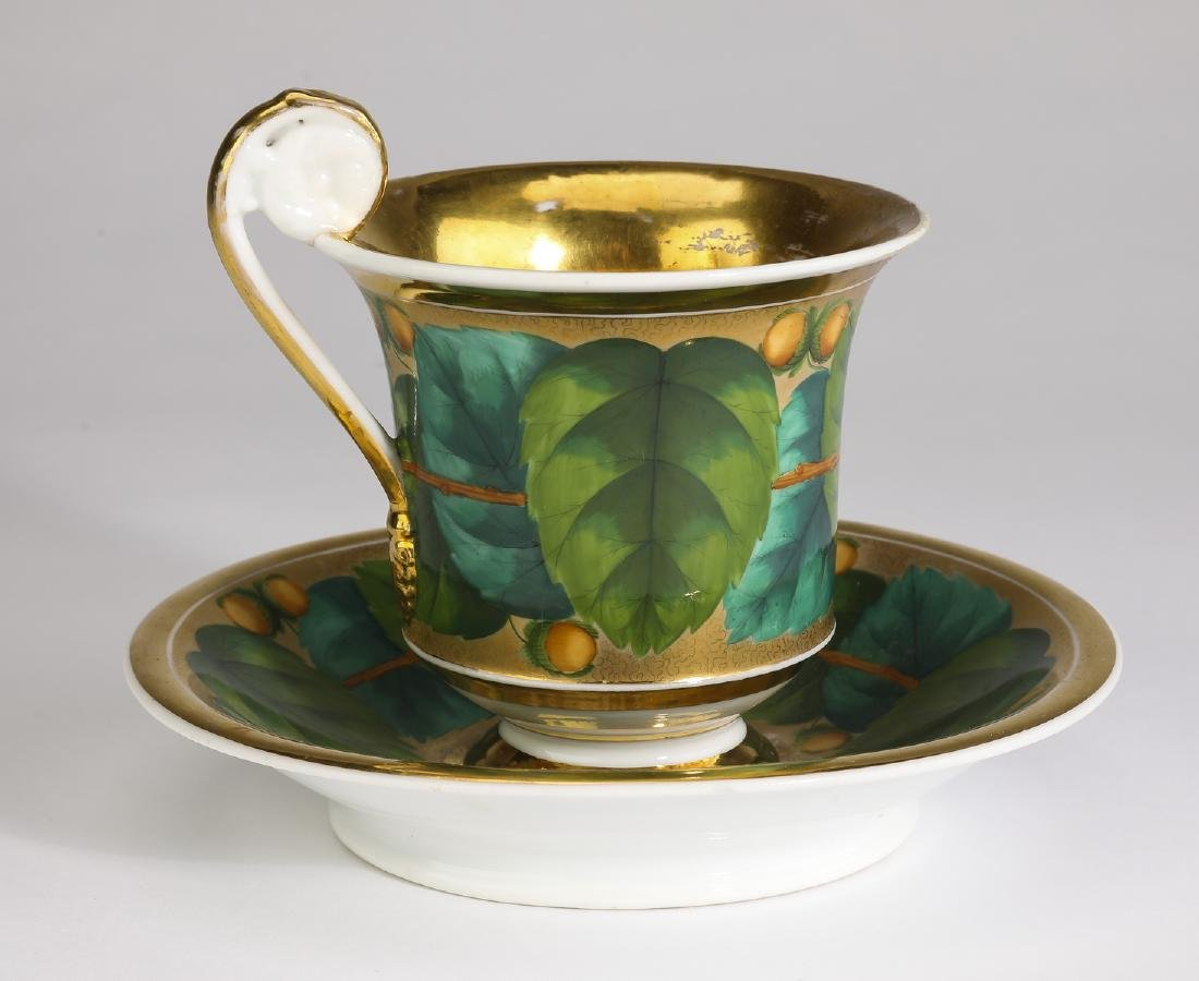 19th c German porcelain gilded teacup & saucer - 2