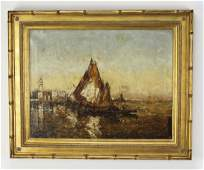 Charles Cousin (French) signed O/c of boats in Venice