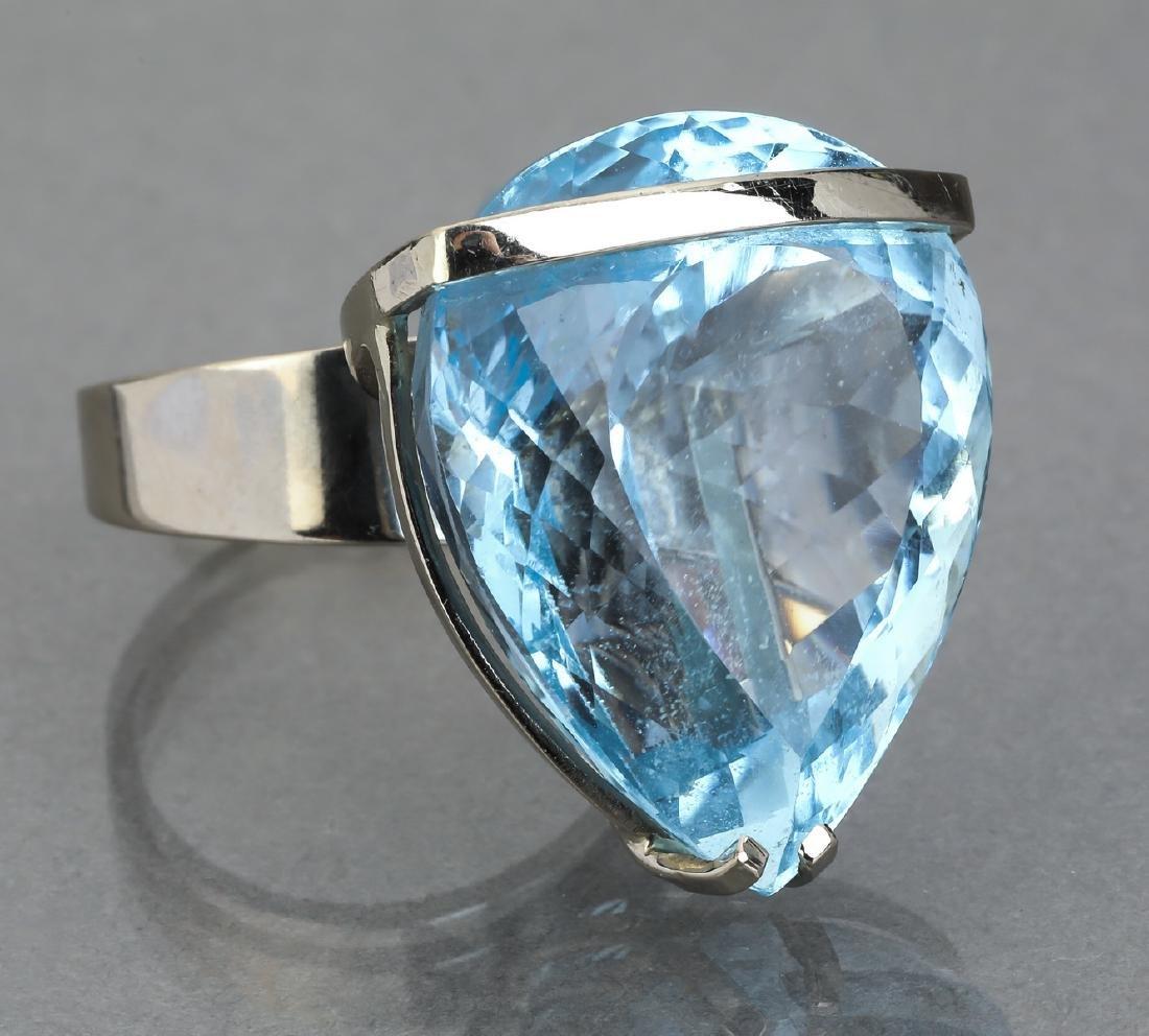 91.15 carat blue topaz and 14k statement ring