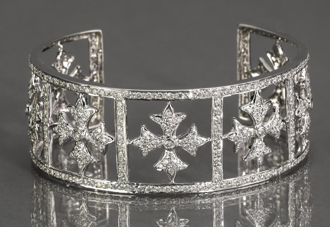 5 ctw diamond & 18k white gold cuff bracelet
