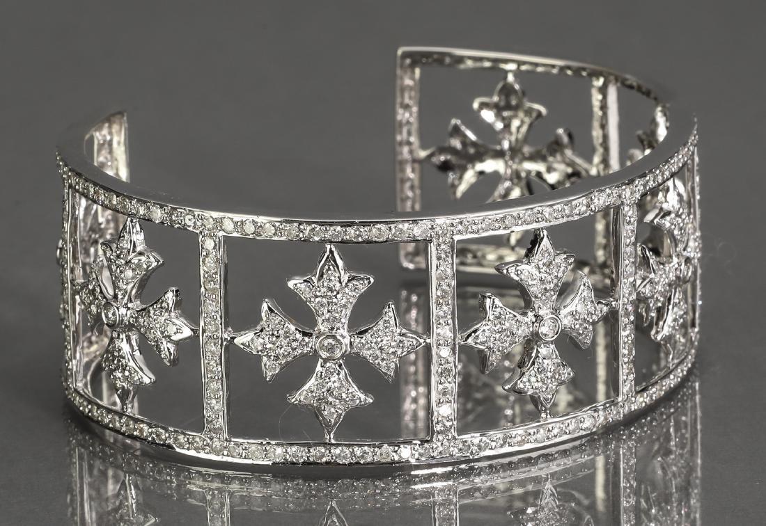 5 ctw diamond & 18k white gold cuff bracelet - 2