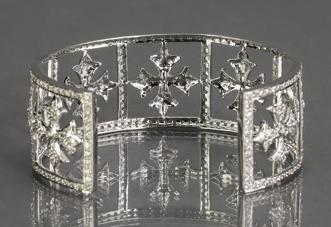 5 ctw diamond & 18k white gold cuff bracelet - 3