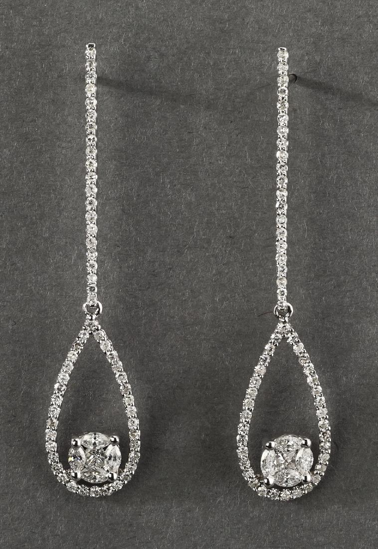 Diamond & 14k white gold ear pendants