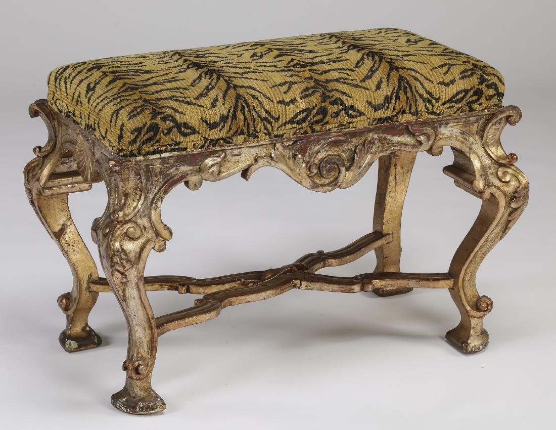 French gilded stool  w/ tiger print seat