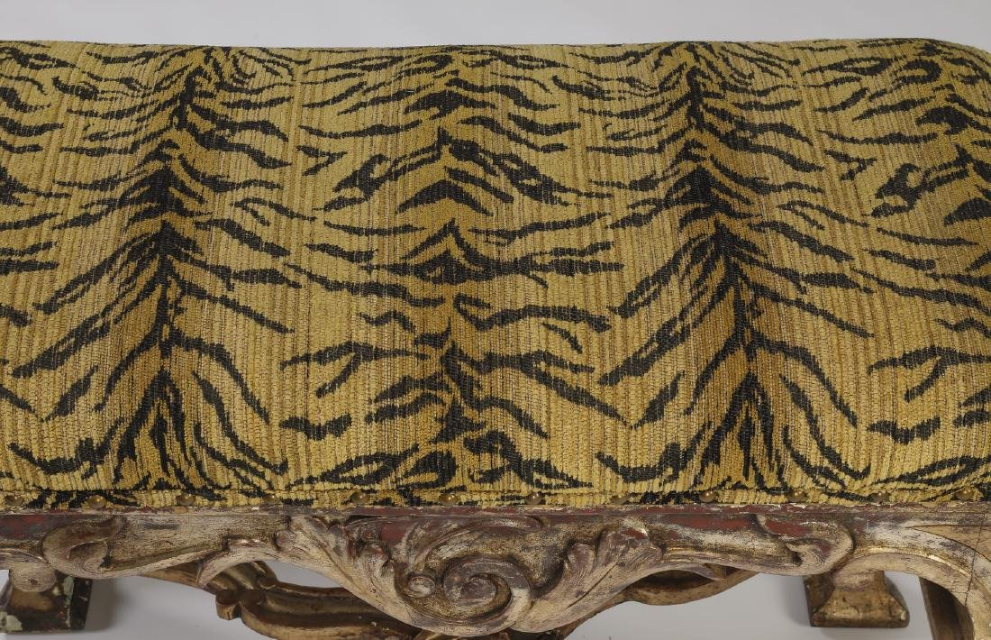 French gilded stool  w/ tiger print seat - 2