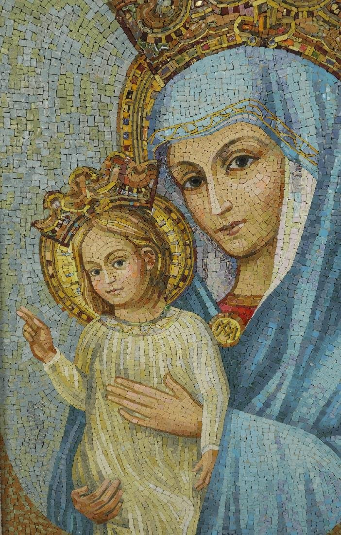 Vatican Studio micro-mosaic, Madonna & Child, signed - 2