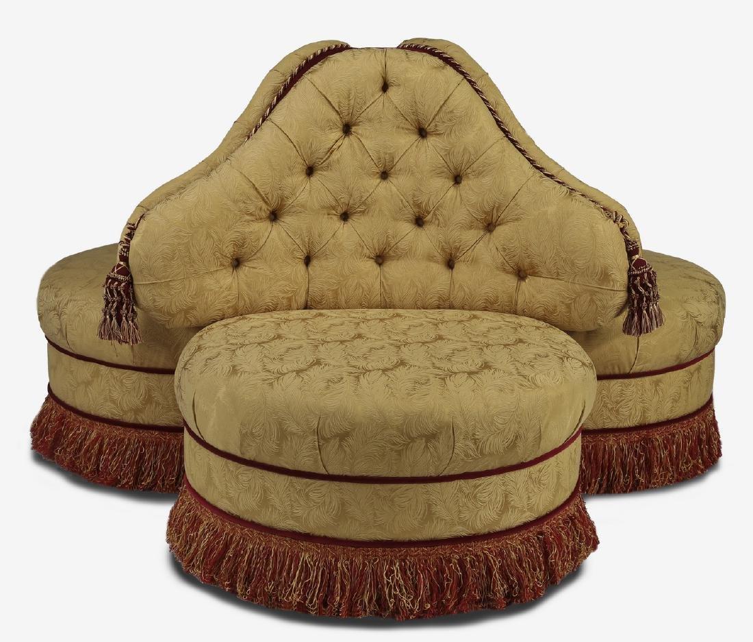 "Victorian style trefoil form banquette, 77""dia"