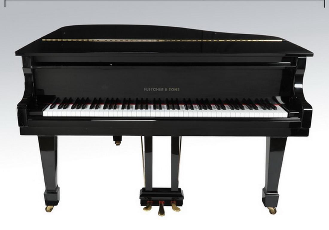 Fletcher & Sons baby grand piano w/ ebony finish - 7