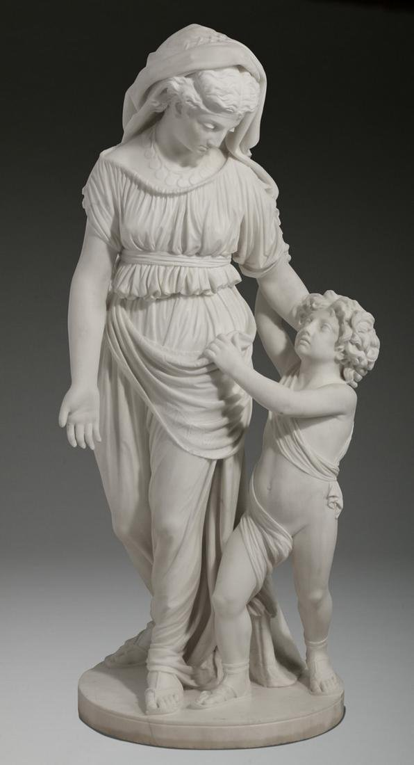 "JW Swinnerton signed marble sculpture, 50""h"