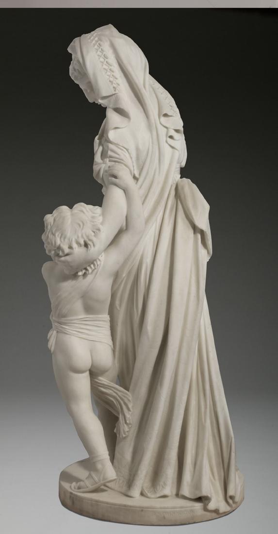 "JW Swinnerton signed marble sculpture, 50""h - 5"
