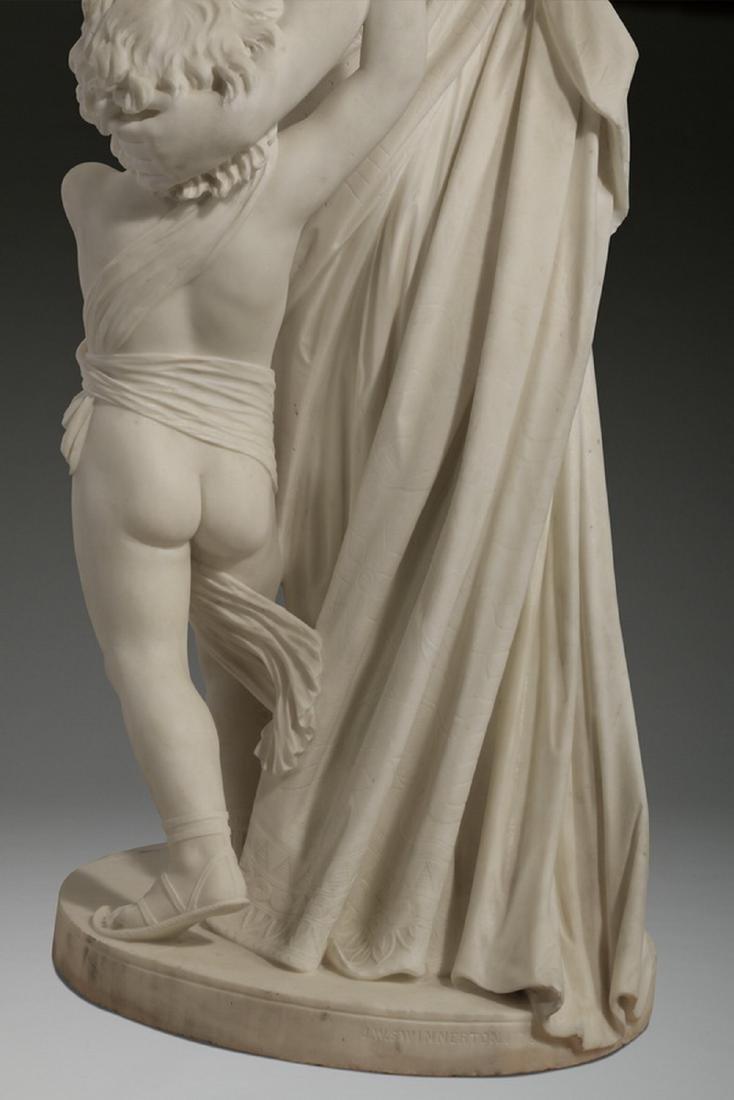 "JW Swinnerton signed marble sculpture, 50""h - 7"