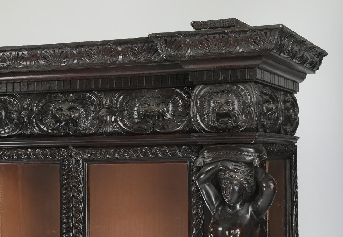 19th c. Italian carved and ebonized figural cabinet - 3