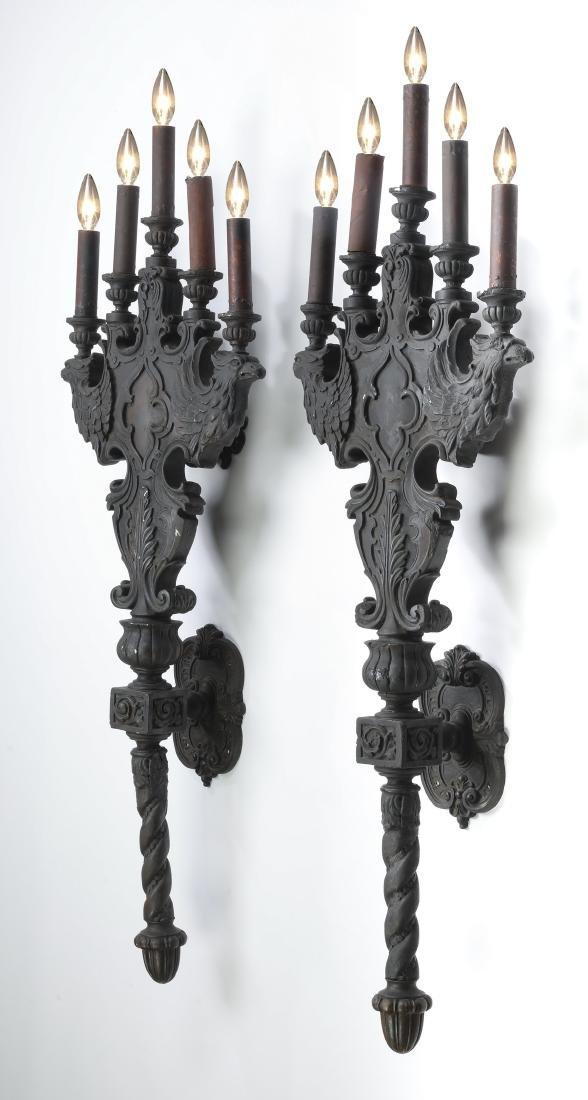(2) 19th c.Continental ebonized gesso figural sconces