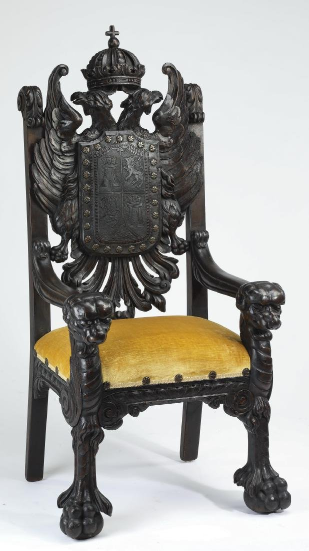 "19th c. Russian figural armchair w/ eagles, 61""h"