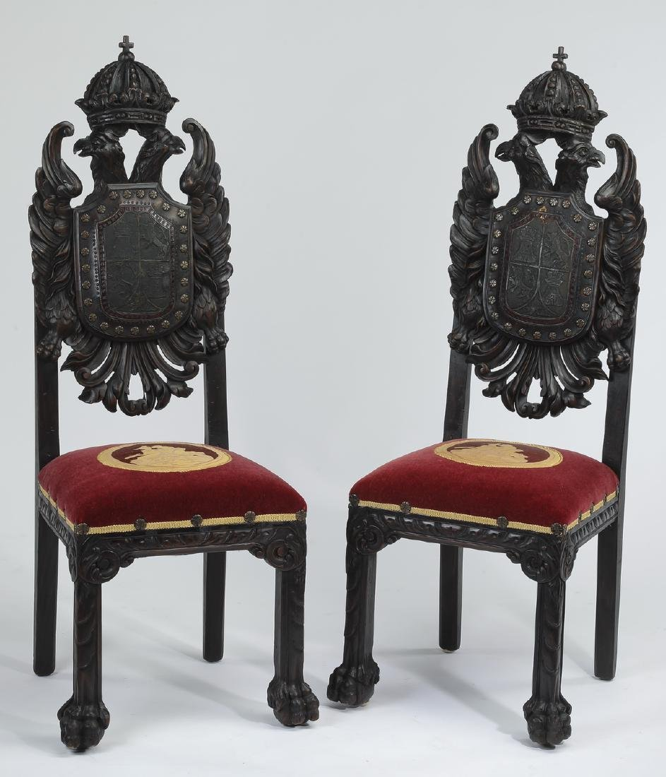 (2) 19th c. Russian carved side chairs, w/ eagles