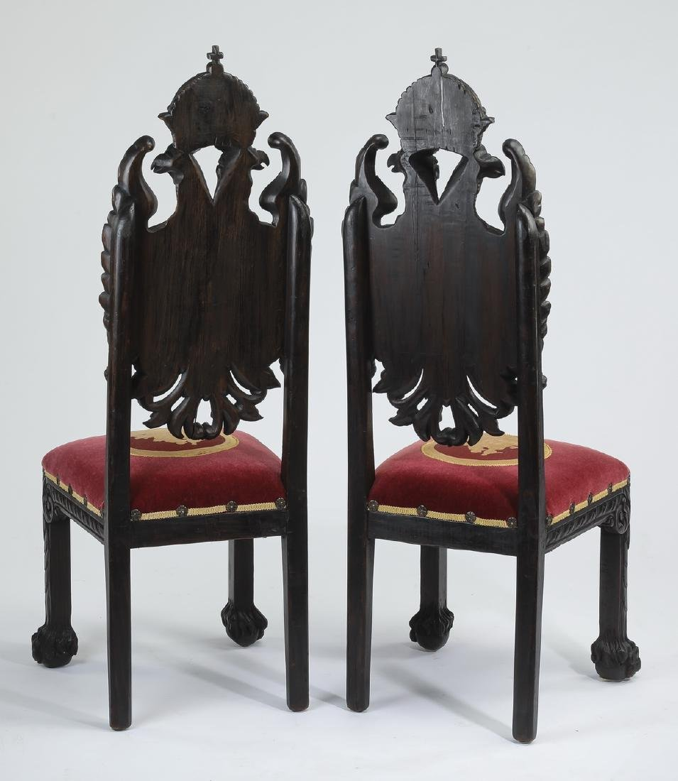 (2) 19th c. Russian carved side chairs, w/ eagles - 3