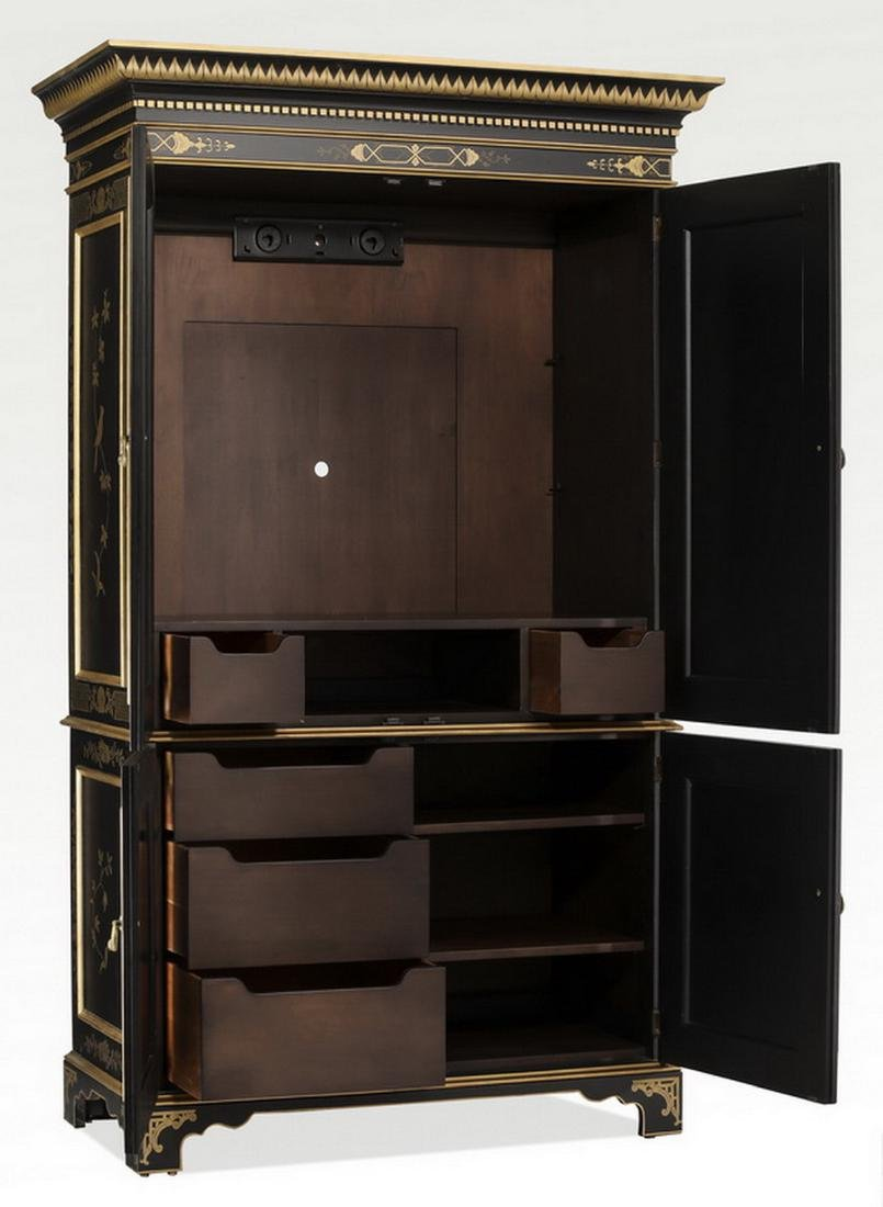 EJ Victor Chinoiserie inspired ebonized armoire - 4