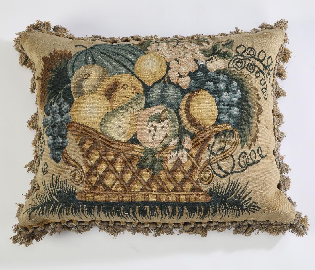 Woven tapestry pillow w/ tassel fringe