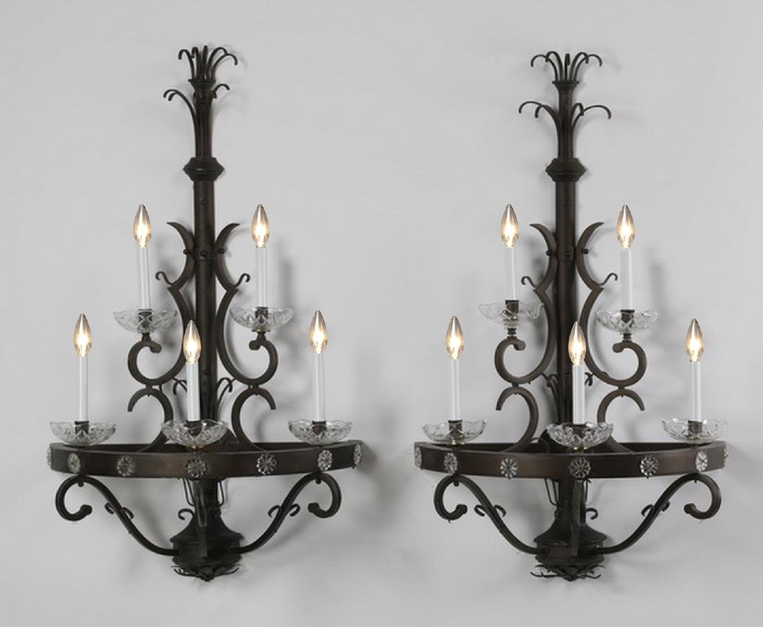 "(2) Wrought iron 5-light wall sconces, 46""h"