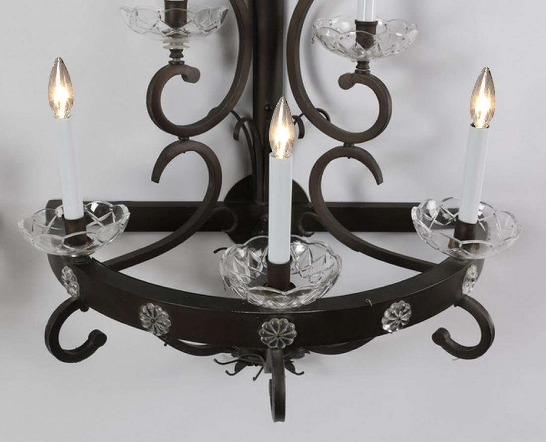 "(2) Wrought iron 5-light wall sconces, 46""h - 3"