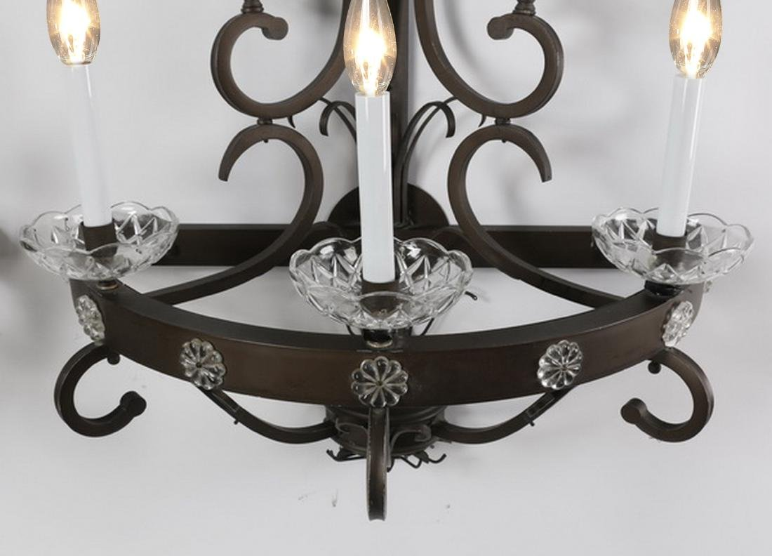 (2) Wrought iron 5-light wall sconces - 3