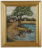 (2) Mid 20th c. O/c - farm scene and village scene
