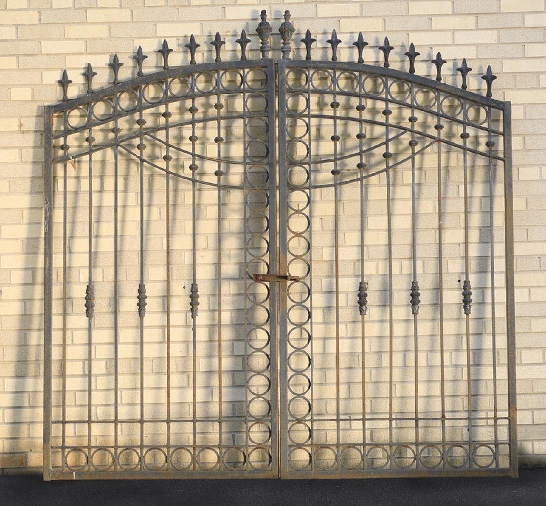 "Wrought iron garden gate in two parts, 80.5""h x 81""w"