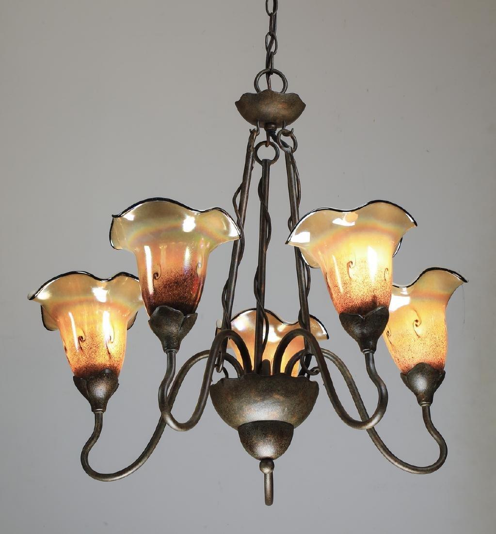 "Art glass & bronze 5-light chandelier, 25""dia"