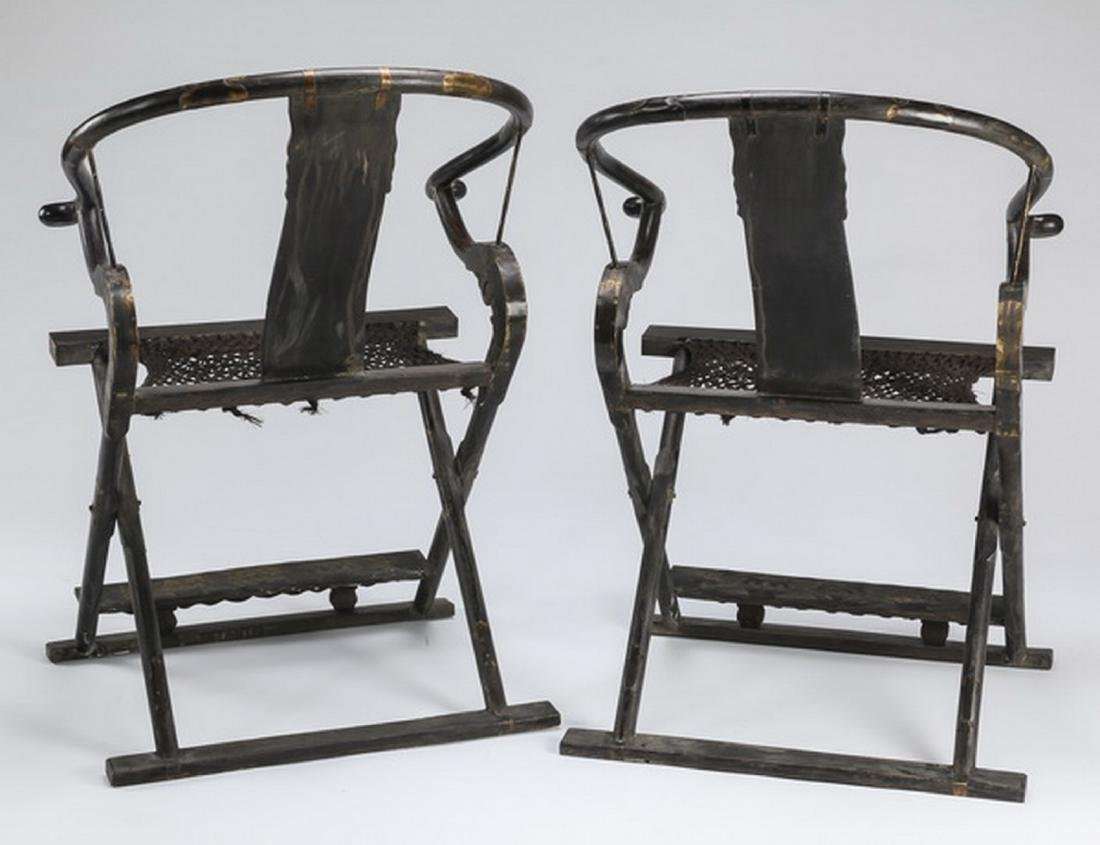 (2) Chinese carved phoenix & dragon folding chairs - 9
