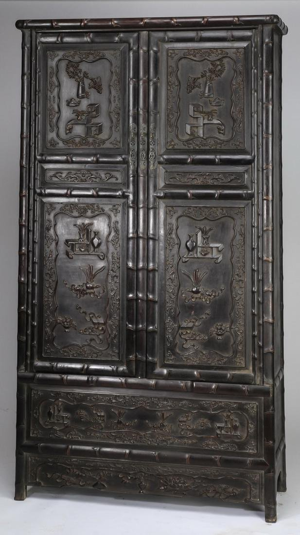 "Chinese carved 'bogu' cabinet, 78.5""h"