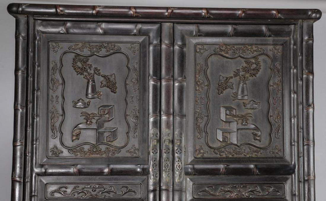 "Chinese carved 'bogu' cabinet, 78.5""h - 8"