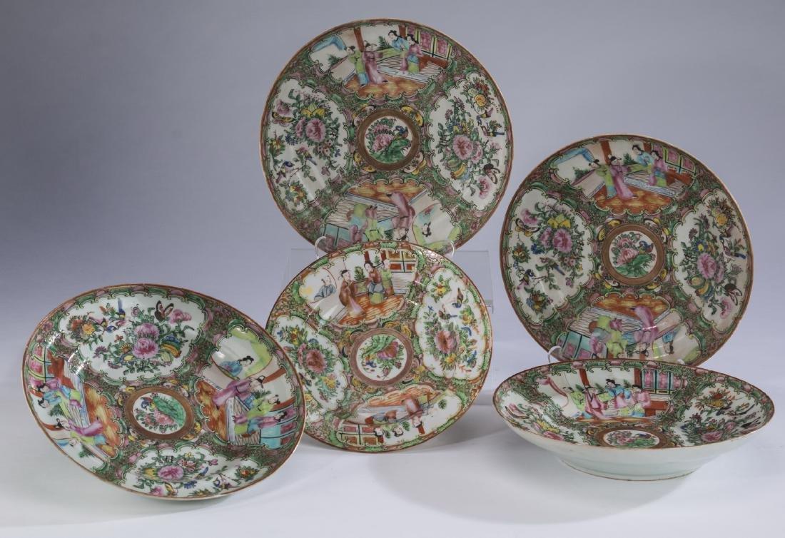 "(5) Chinese Rose Medallion shallow bowls, 10""dia"