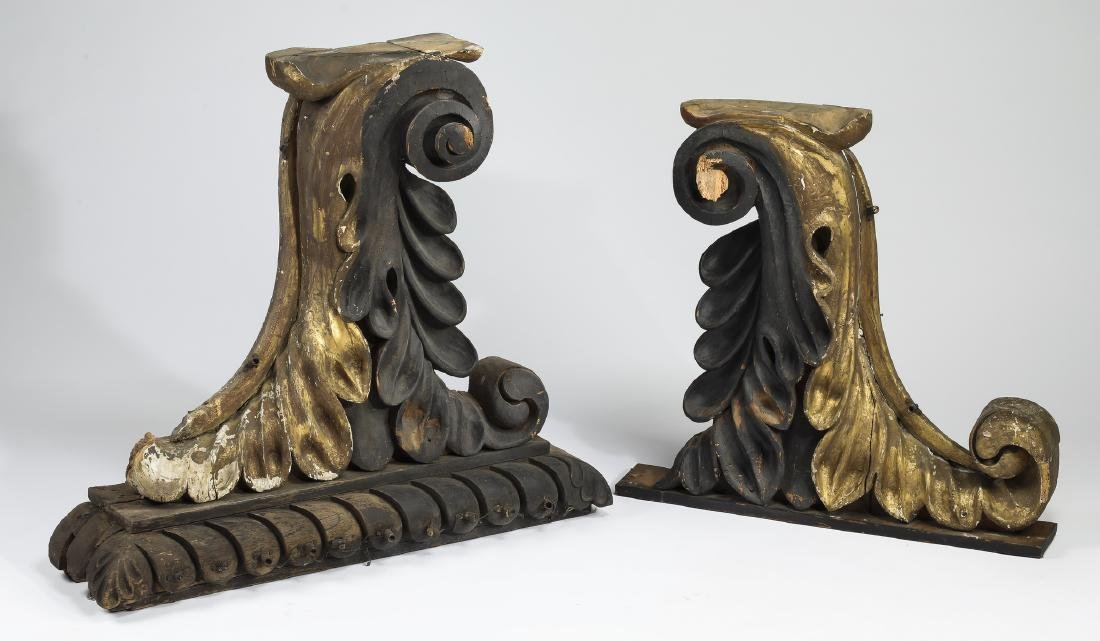 (2) 19th c. carved & gilt architectural brackets