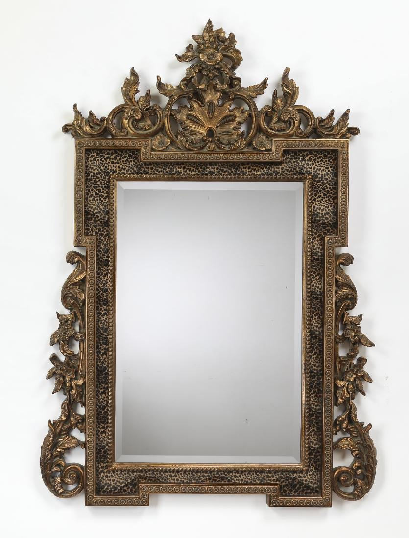 "Gilded & faux leopard hide rectangular mirror, 61""h"