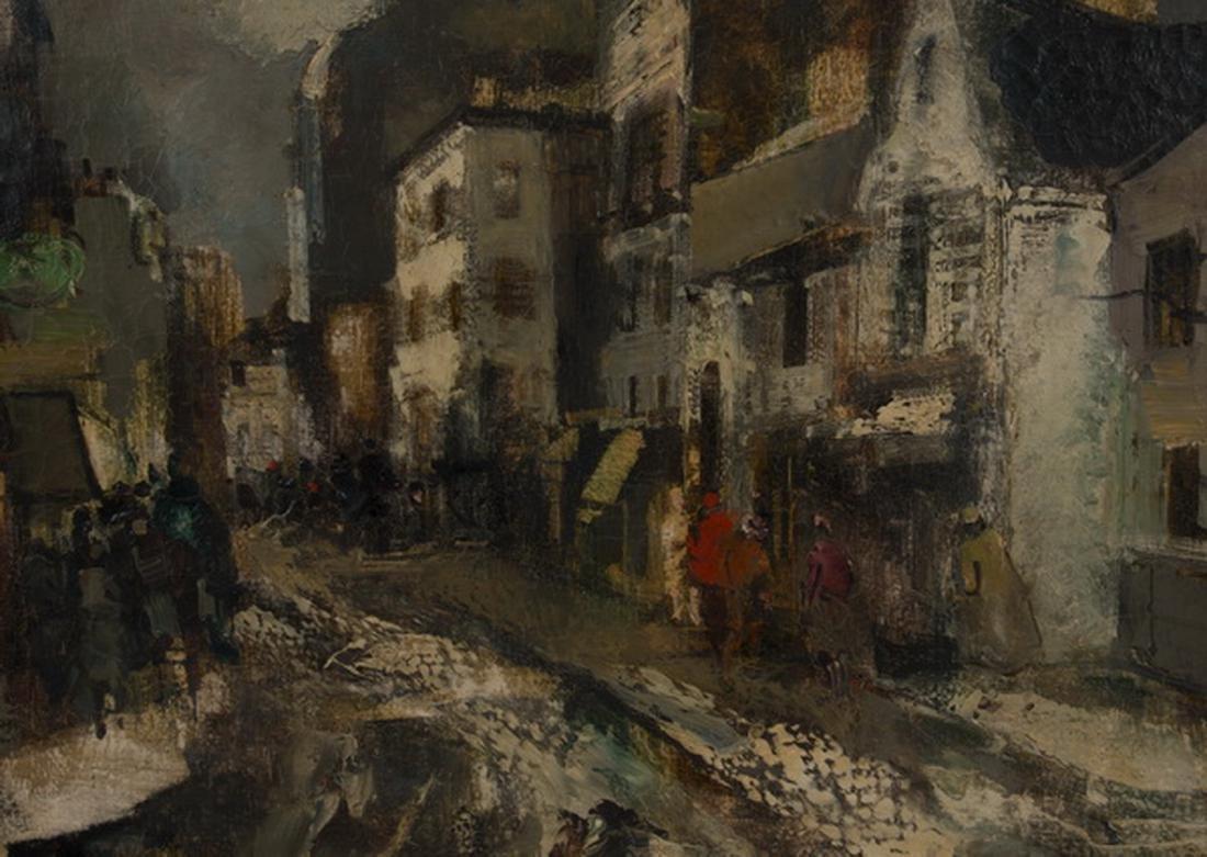 Oliver Foss O/c of Parisian street scene, signed - 2