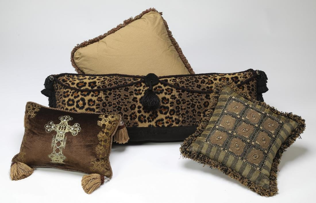 (4) Assorted custom made pillows in neutral hues